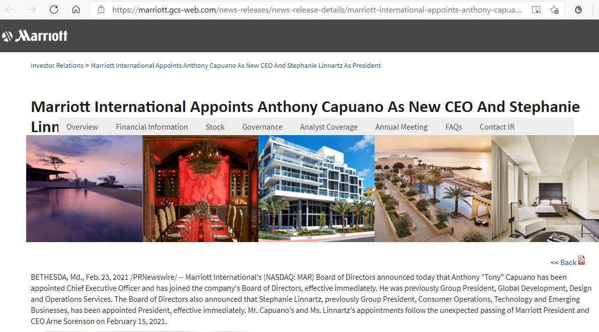 万豪宣布任命Tony Capuano为新任CEO,Stephanie Linnartz担任总裁